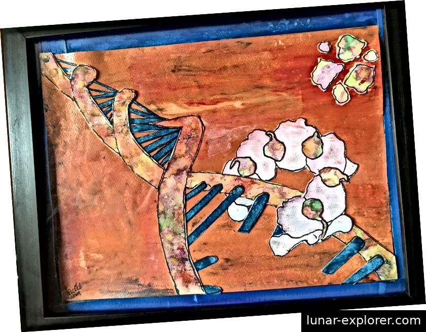 Als Anhänger der nicht-traditionellen Wissenschaftskommunikation ist Chase auch Künstler und zeichnete diese Darstellung der DNA-Helikase. (Bildnachweis: Jillian Chase)