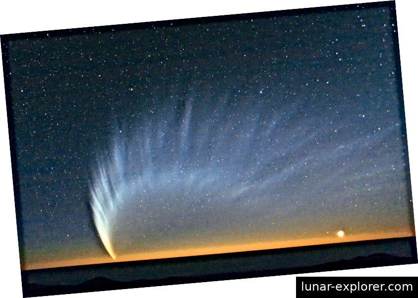 Der spektakuläre Comet McNaught, der im Januar 2007 vom Paranal-Observatorium in Chile über den Pazifik gesehen wurde. Foto: ESO / Sebastian Deiries