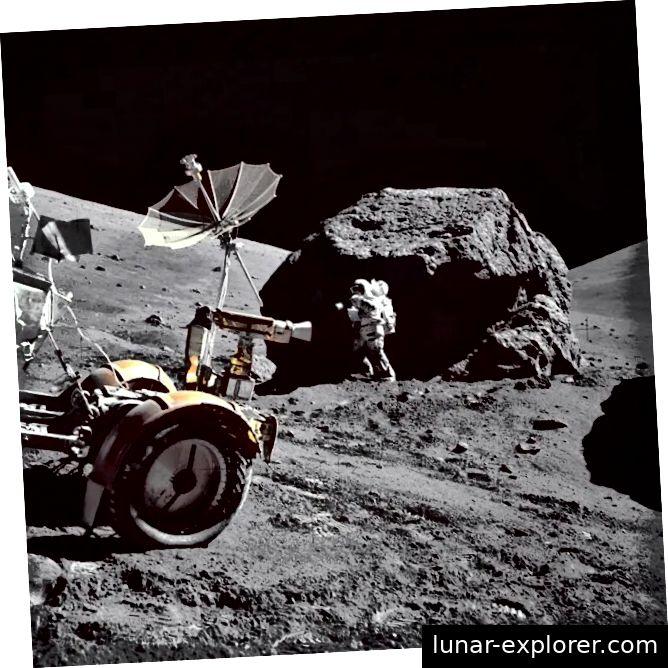 Harrison Schmitt, ein Geologe, ist (bis jetzt) der einzige Wissenschaftler, der auf der Mondoberfläche gelaufen ist. Hier wird Schmitt während der Apollo 17-Mission im Dezember 1972 auf der Mondoberfläche gezeigt. Bildnachweis: NASA