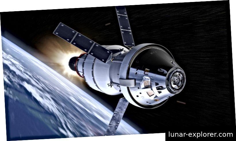 Die Orion-Sonde, die an Bord einer Space Launch System-Rakete gestartet wurde, soll NASA-Astronauten sowohl zum Mond als auch zum Mars bringen. Bildnachweis: NASA