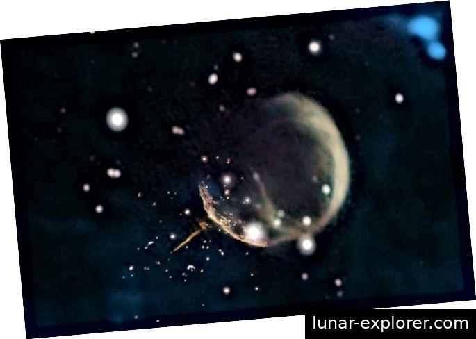 (Bild: © Composite von Jayanne English, Universität Manitoba, unter Verwendung von Daten von NRAO / F. Schinzel ua, DRAO / Canadian Galactic Plane Survey und NASA / IRAS)