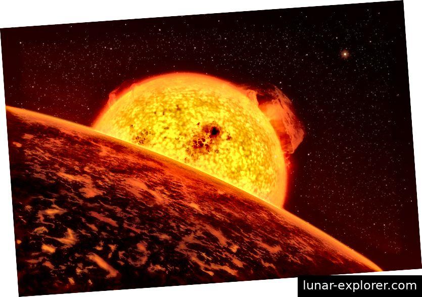 Eine künstlerische Vorstellung von CoRoT-7b, einem Exoplaneten, der ungefähr 70 Prozent größer ist als die Erde. Astronomen glauben, es könnten die Überreste eines Gasriesen sein, der sich der Sonne näherte und dieser Welt einen Großteil ihrer Atmosphäre entzog. Bildnachweis: ESO / L. Calçada