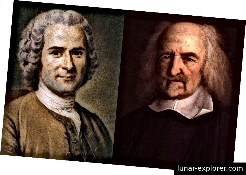 Jean-Jacques Rousseau (links) und Thomas Hobbes (rechts), zwei einflussreiche Philosophen der menschlichen Natur