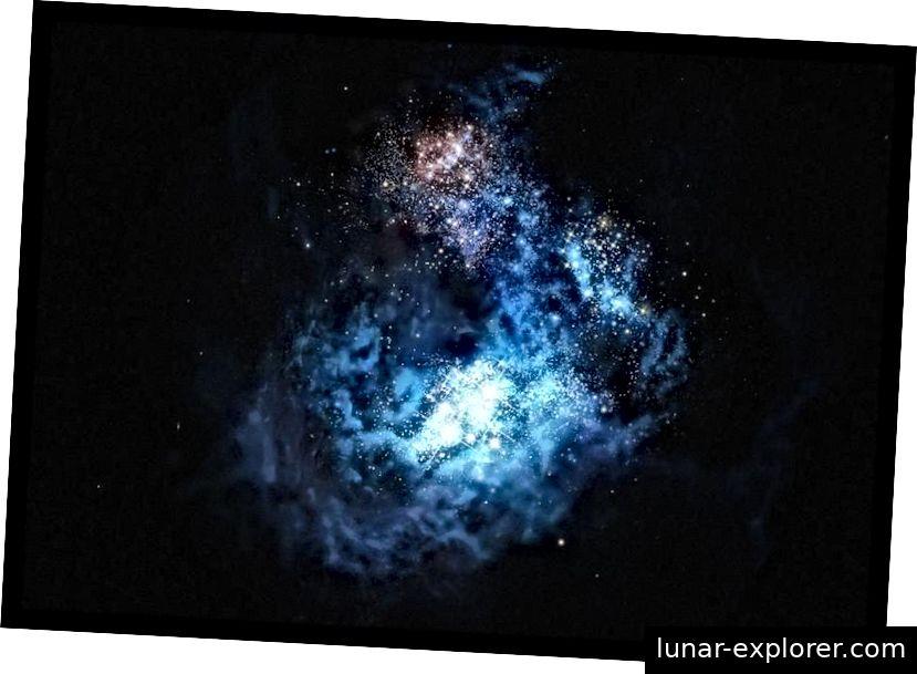 Eine Illustration von CR7, der ersten Galaxie, die Population III-Sterne beherbergen sollte: die ersten Sterne, die sich jemals im Universum gebildet haben. JWST wird aktuelle Bilder dieser und ähnlicher Galaxien zeigen und in der Lage sein, diese Objekte zu vermessen, auch wenn die Reionisierung noch nicht abgeschlossen ist. (ESO / M. KORNMESSER)