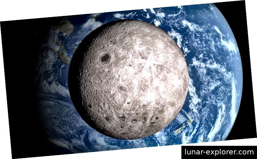 Eine Ansicht, die Menschen selten sehen - die andere Seite des Mondes. Bildnachweis: Ernie Wright nutzt den NASA Visualization Explorer