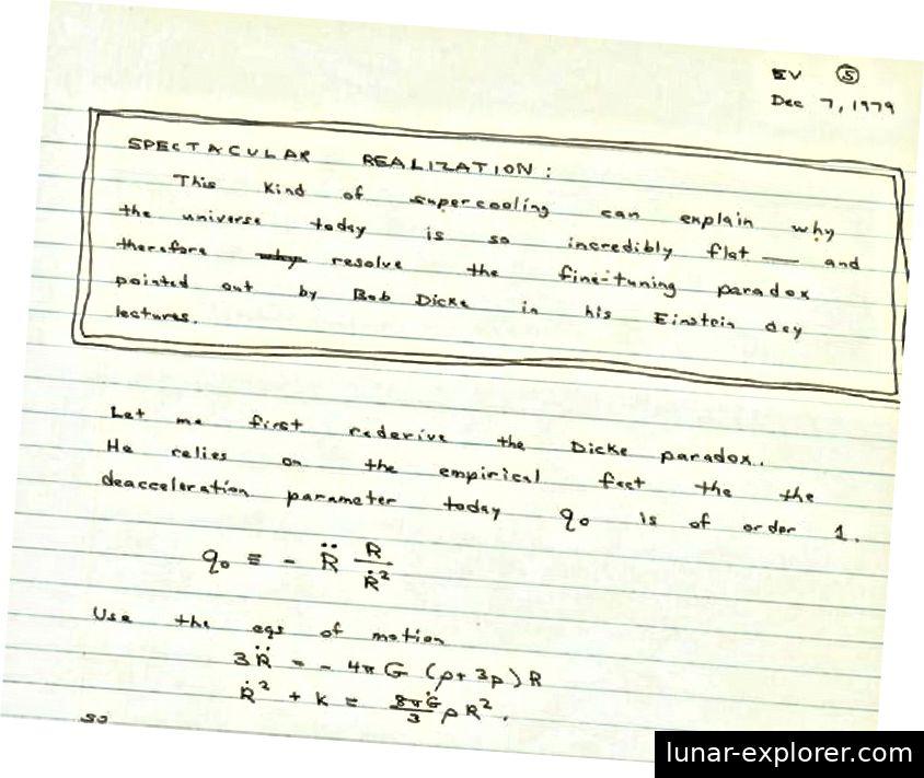 Es war die Betrachtung einer Reihe fein abgestimmter Szenarien, die Alan Guth dazu veranlasste, sich die kosmische Inflation vorzustellen, die führende Theorie des Ursprungs des Universums. (ALAN GUTHS NOTIZBUCH 1979)
