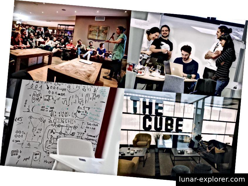 Hackathon-Teilnehmer arbeiten zusammen, um ihre Projekte abzuschließen (Foto von Paul Searle)