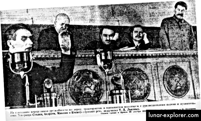Trofim Lysenko (L) im Gespräch mit Joseph Stalin (R) aus dem Jahr 1935 im Kreml.