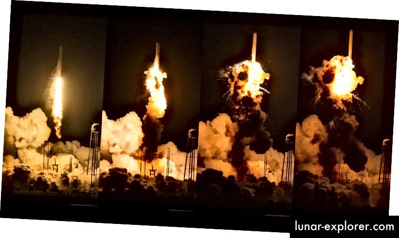 Die ungeschraubte Antares-Raketenexplosion von 2014. Bildnachweis: NASA / Joel Kowsky.