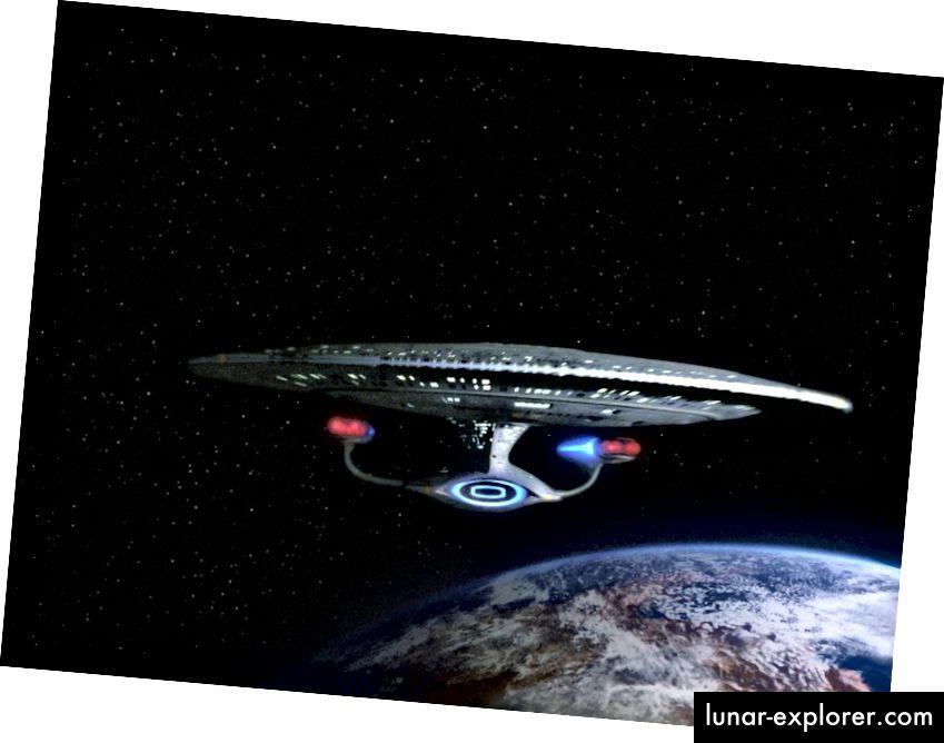 Das Raumschiff Enterprise im Star Trek: Die Episode der nächsten Generation, The Hunted. Staffel 3, Folge 11. Ausstrahlungsdatum: 8. Januar 1990. (Foto von CBS über Getty Images).