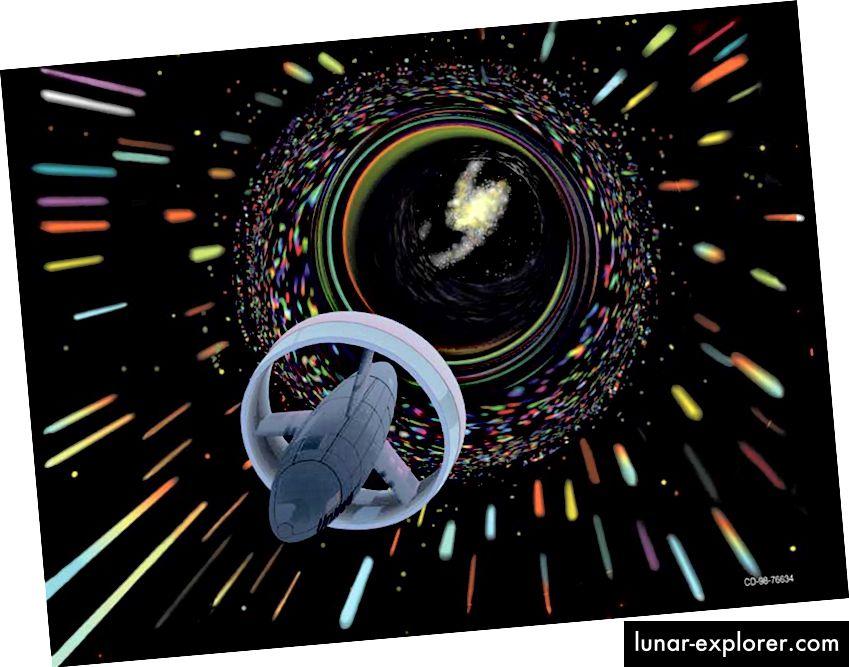 Warp-Reisen, wie für die NASA vorgesehen. Bildnachweis: NASA / Digitale Kunst von Les Bossinas (Cortez III Service Corp.), 1998.