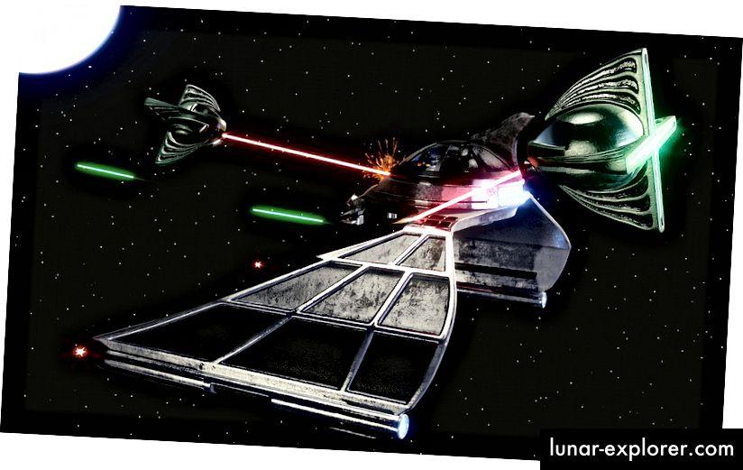 Ein Schiff, das durch konventionelle Waffen wie Laser, die durch die Lichtgeschwindigkeit begrenzt sind, begrenzt ist, kann leicht von einem Schiff mit Warp-Antriebstechnologie ausmanövriert und besiegt werden. Bildnachweis: Pixabay-Nutzer GooKingSword.