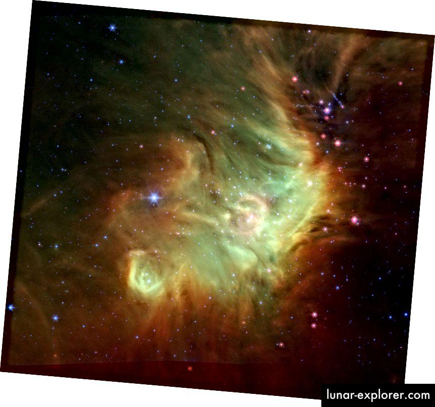 In diesem Infrarotbild des NASA-Spitzer-Weltraumteleskops bilden sich nahe dem östlichen Rand der kosmischen Wolke Perseus Babysterne.