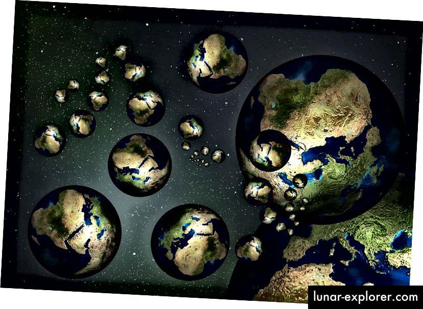 Ein Konzept der verschiedenen Erden, die in einem unendlichen oder nahezu unendlichen Multiversum existieren könnten. Bildnachweis: gemeinfrei, abgerufen von https://pixabay.com/de/globe-earth-country-continents-73397/.