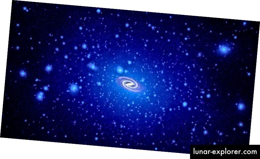 Ein klumpiger Lichthof aus dunkler Materie mit variierender Dichte und einer sehr großen, diffusen Struktur, wie durch Simulationen vorhergesagt, wobei der leuchtende Teil der Galaxie skaliert ist. Bildnachweis: NASA, ESA und T. Brown und J. Tumlinson (STScI).