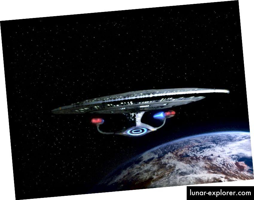 Das Raumschiff Enterprise im Star Trek: Die Episode der nächsten Generation, The Hunted. Staffel 3, Folge 11. Ausstrahlungsdatum: 8. Januar 1990. (Foto von CBS über Getty Images)