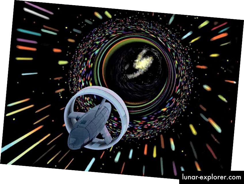 Die Vorstellung eines Künstlers von einem Raumschiff, das den Alcubierre-Antrieb nutzt, um mit scheinbar über dem Licht liegenden Geschwindigkeiten zu reisen. Bildnachweis: NASA.