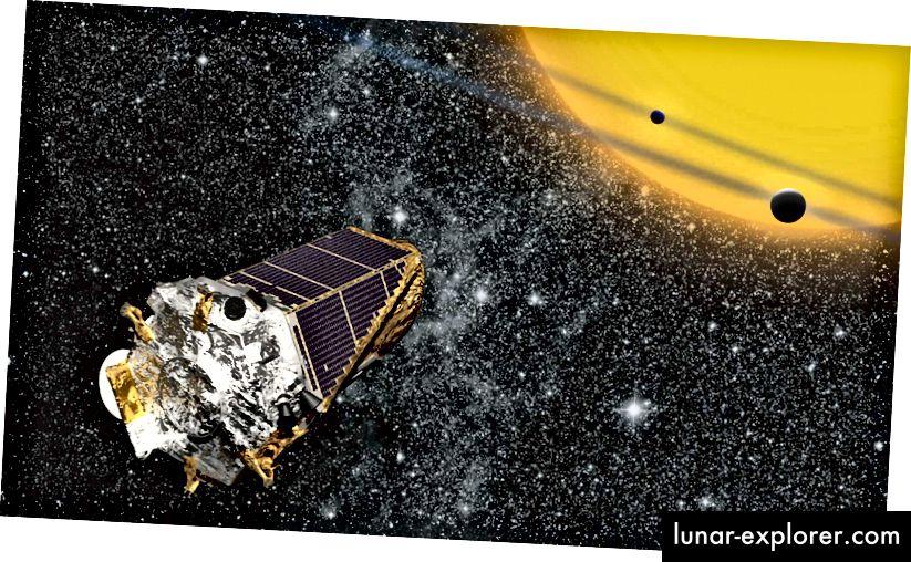 Illustration des Planet-Finding-Weltraumteleskops, Kepler, von der NASA. Bildnachweis: NASA Ames / W Stenzel.