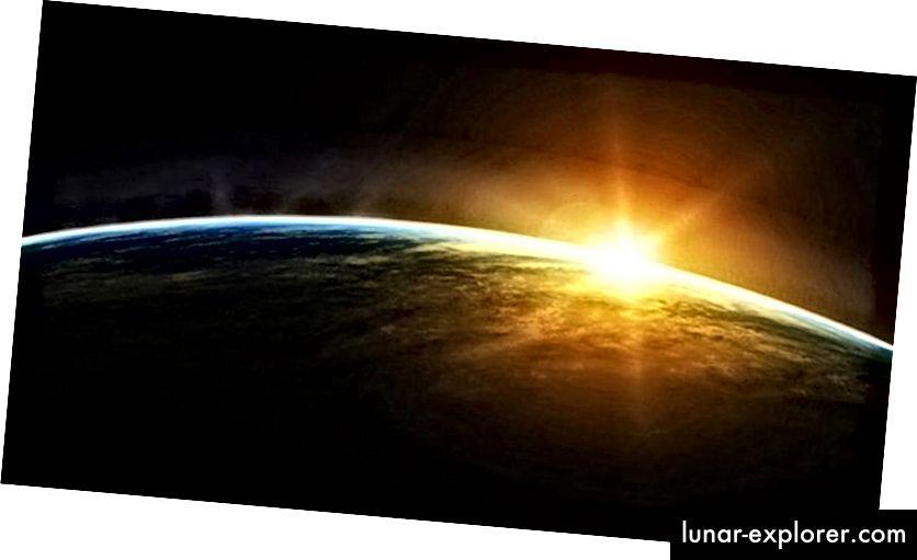 الشمس والأرض من المحطة الفضائية الدولية. في حين أن ضوء الأرض أقل من الثانية ، فإن عمر الشمس يزيد عن ثماني دقائق. الصورة الائتمان: ناسا / محطة الفضاء الدولية.