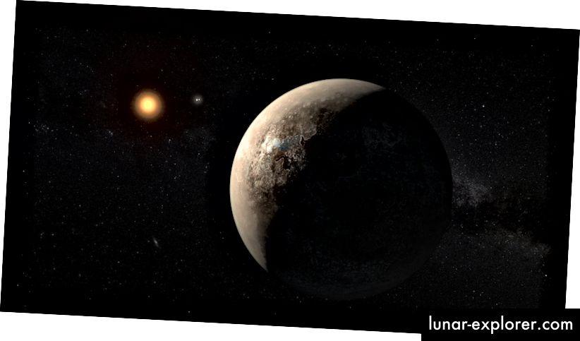Der Exoplanet Proxima b wird, wie in der Abbildung dieses Künstlers gezeigt, niemals Sonnenlicht auf seine dunkle Seite scheinen lassen. Bildnachweis: ESO / M. Kornmesser.