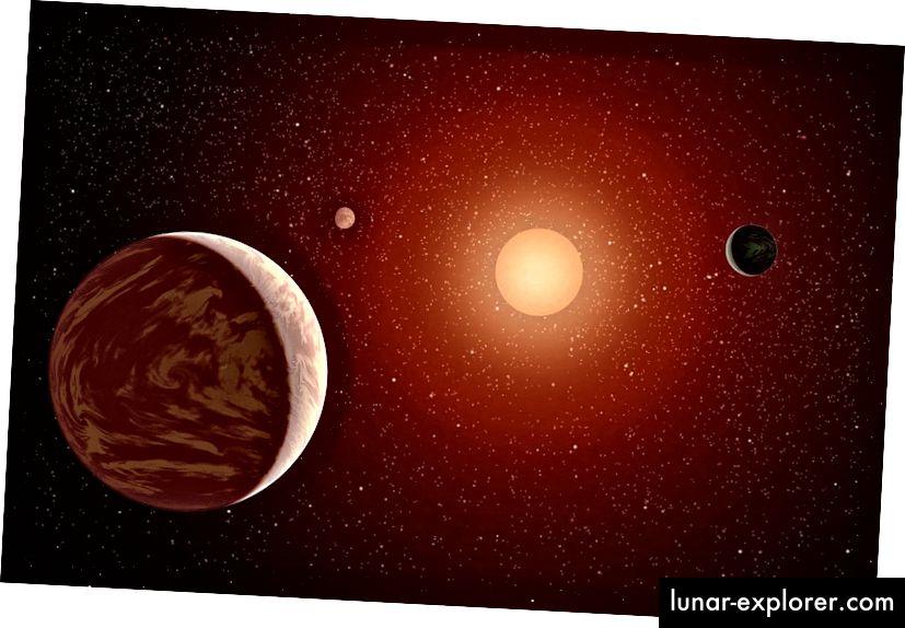 """Alle inneren Planeten in einem Rotzwergsystem sind gezeitengesichert, wobei eine Seite immer zum Stern und eine Seite immer weg zeigt und ein """"Ring"""" erdähnlicher Bewohnbarkeit zwischen der Nacht- und der Tagesseite liegt. Bildnachweis: NASA / JPL-Caltech."""