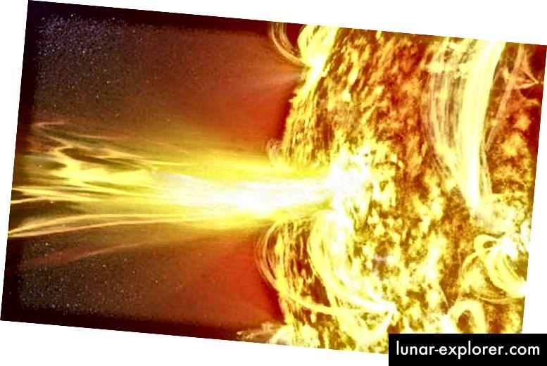 Eine Sonneneruption unserer Sonne, die weitaus seltener ist als die von Proxima Centauri ausgehenden Eruptionen. Bildnachweis: NASAs Solar Dynamics Observatory / GSFC.