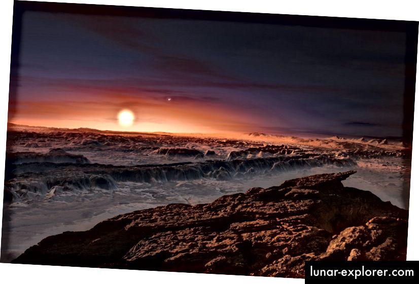 Eine künstlerische Darstellung von Proxima Centauri aus der Sicht des