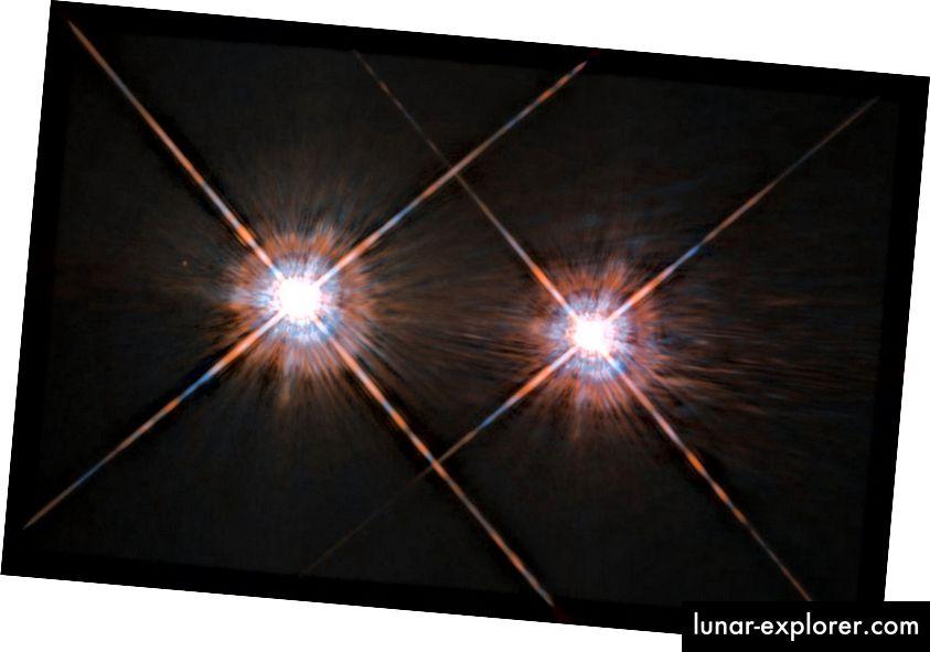 Alpha Centauri A (links) und B (rechts), aufgenommen vom Hubble-Weltraumteleskop. Bildnachweis: ESA / Hubble & NASA.