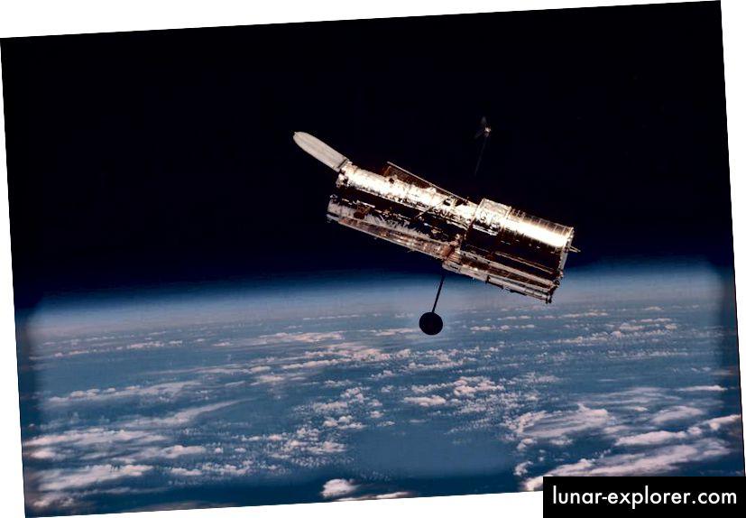 Das Hubble-Weltraumteleskop, wie es während der letzten und letzten Wartungsmission aufgenommen wurde. Bildnachweis: NASA.