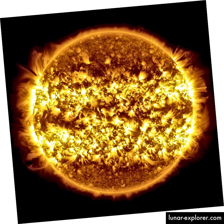 Eine Zusammenstellung von 25 Bildern der Sonne, die den Sonnenausbruch / die Sonnenaktivität über einen Zeitraum von 365 Tagen zeigen. Bildnachweis: NASA / Solar Dynamics Observatory / Atmospheric Imaging Assembly / S. Wiessinger; Nachbearbeitung durch E. Siegel.