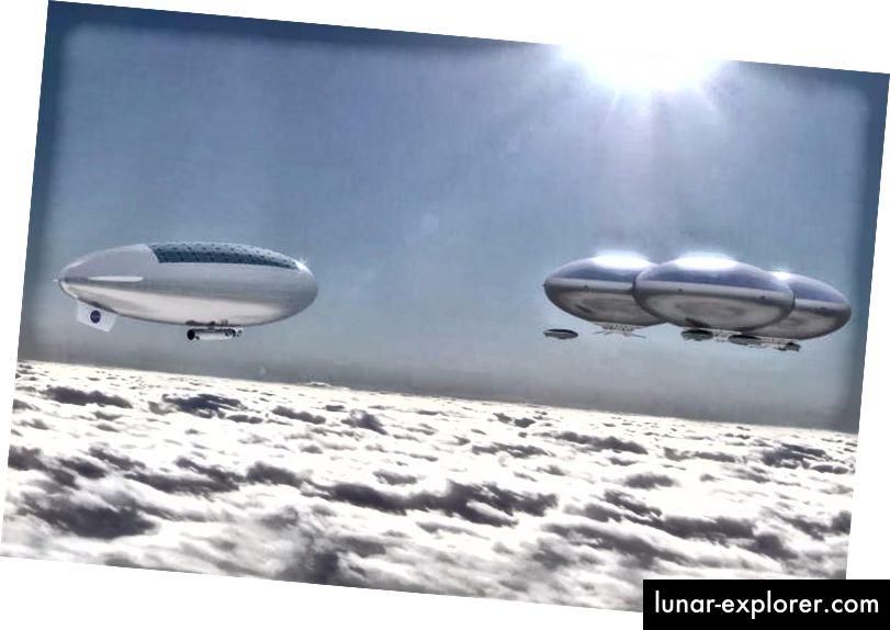 In einer Welt, in der die Ozeane gekocht haben und die Welt vollständig in Wolken gehüllt ist, ist das Leben über den Wolkenspitzen möglicherweise der einzige bewohnbare Ort. Bildnachweis: NASA Langley Research Center; Konzeptkunst.