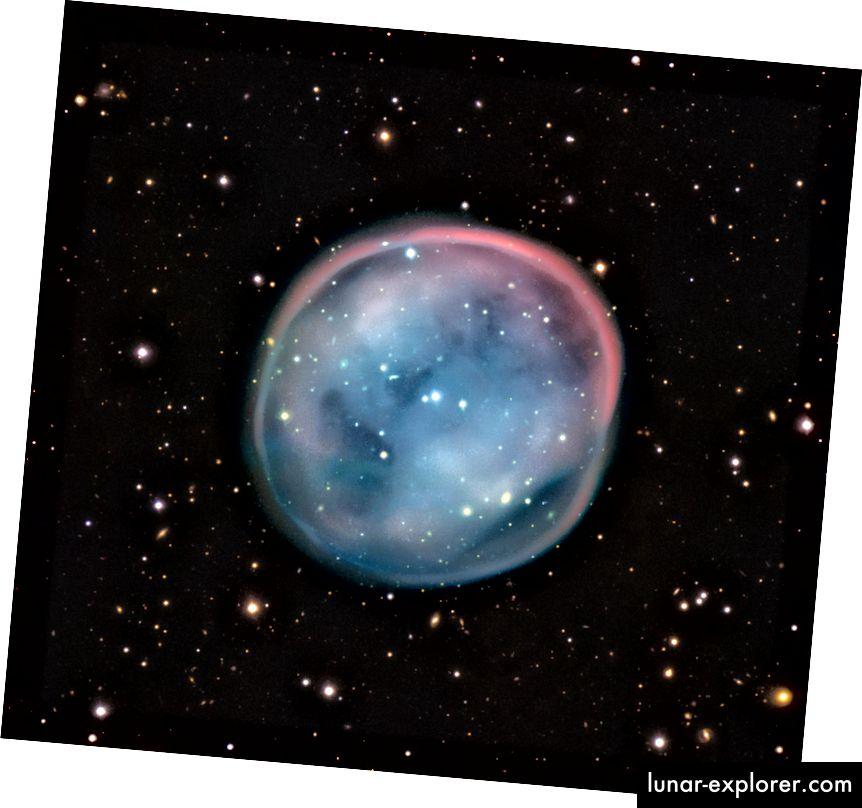 Der Planetarische Nebel ESO 378–1 mit dem sich neu bildenden Weißen Zwerg im Kern dürfte der fernen Zukunft unserer Sonne in ~ 7 Milliarden Jahren sehr ähnlich sein. Bildnachweis: ESO, aufgenommen mit dem Very Large Telescope.