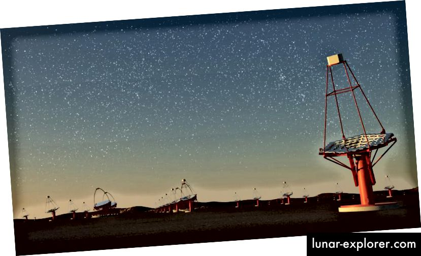 Ein Künstlerkonzept für die Konzeption des Cherenkov Telescope Arrays. Bildnachweis: G. Pérez, IAC.