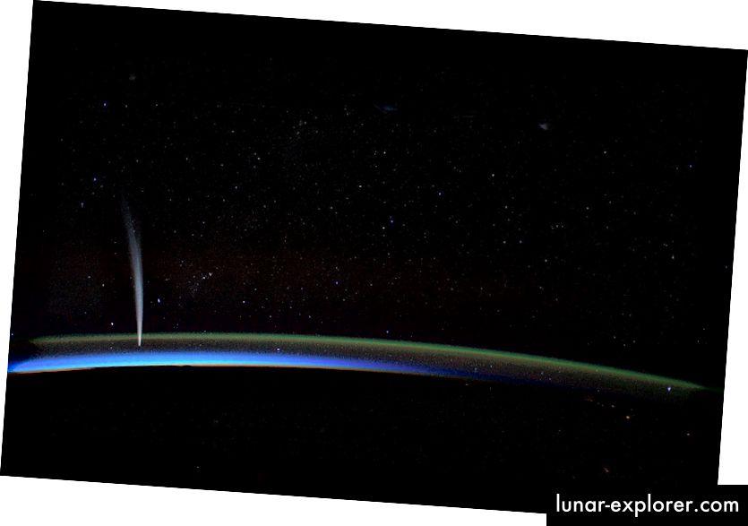 Der Komet Lovejoy ist von der Internationalen Raumstation aus gesehen keine Bedrohung für die Erde. Bildnachweis: NASA / ISS.