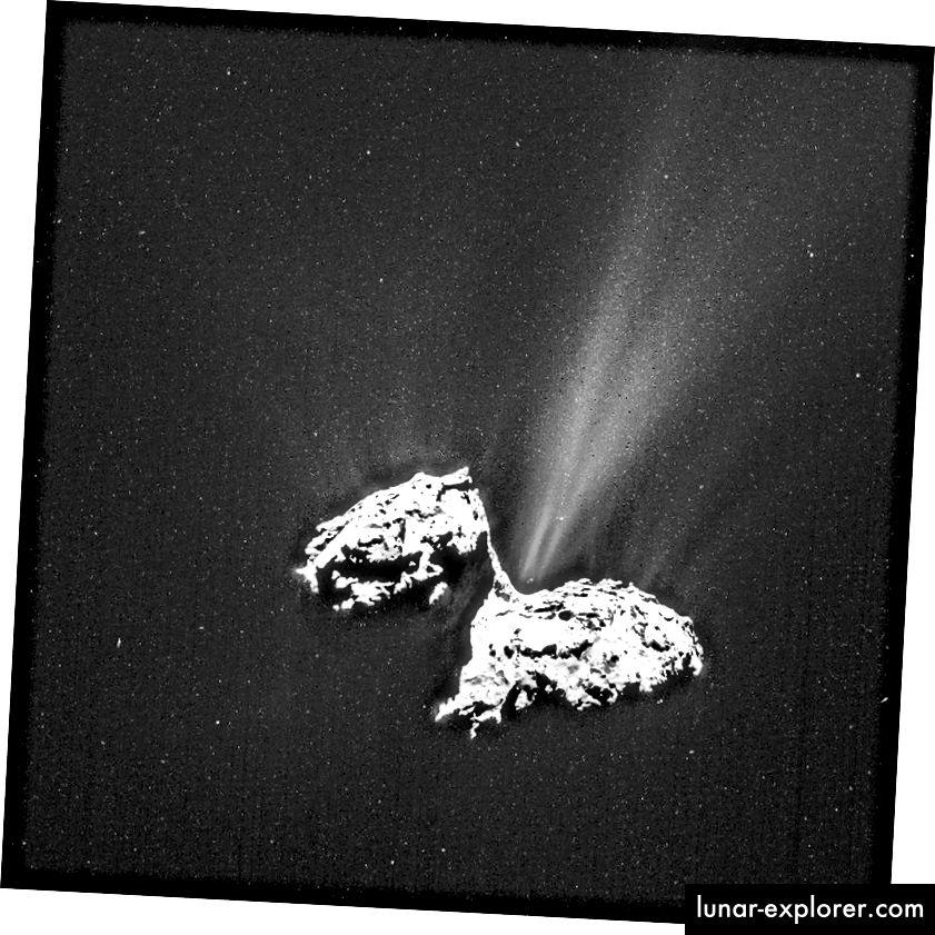 Komet 67P / C-G, wie von Rosetta abgebildet. Bildnachweis: ESA / Rosetta / NAVCAM - CC BY-SA IGO 3.0.