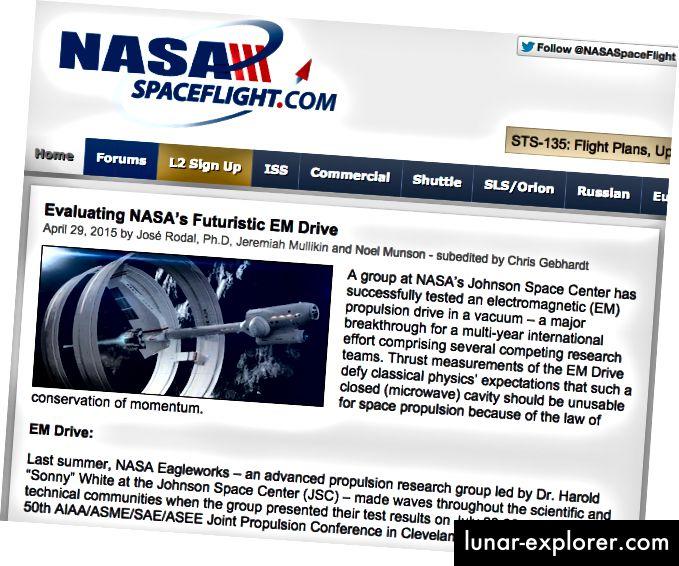 الدكتور رودال لديه سجل حافل من كونه متحمس EMdrive. رصيد الصورة: لقطة شاشة من ناسا ، وهي بالمناسبة ليست موقعًا رسميًا لناسا ، عبر http://www.nasaspaceflight.com/2015/04/evaluating-nasas-futuristic-em-drive/.