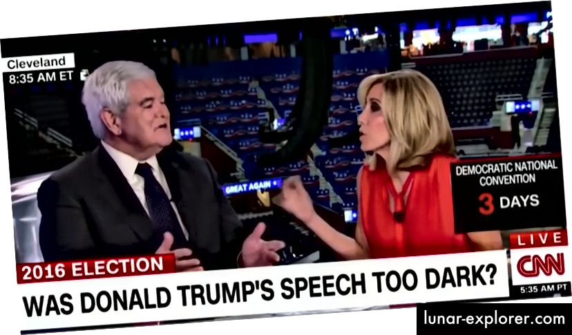 Screenshot aus dem Interview mit Alisyn Camerota / Newt Gingrich auf CNN. Das vollständige Interview finden Sie hier: https://www.facebook.com/AlisynCamerota/videos/10153845308112547/.