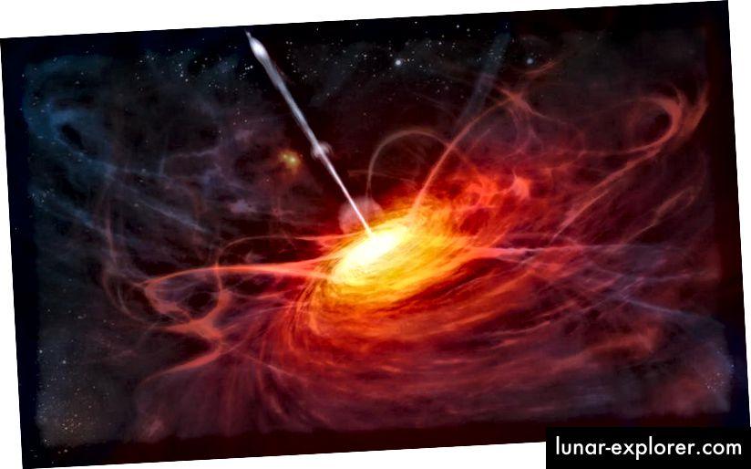 Je größer die Masse eines Schwarzen Lochs ist, desto größer ist die Fläche seines Ereignishorizonts. Der hier abgebildete Quasar hat ein Schwarzes Loch mit 2 Milliarden Sonnenmassen. Könnte ein 4D-Schwarzes Loch mit ~ 10²⁵ Sonnenmassen oder mehr die Quelle unseres Universums sein? Bildnachweis: ESO / M. Kornmesser.