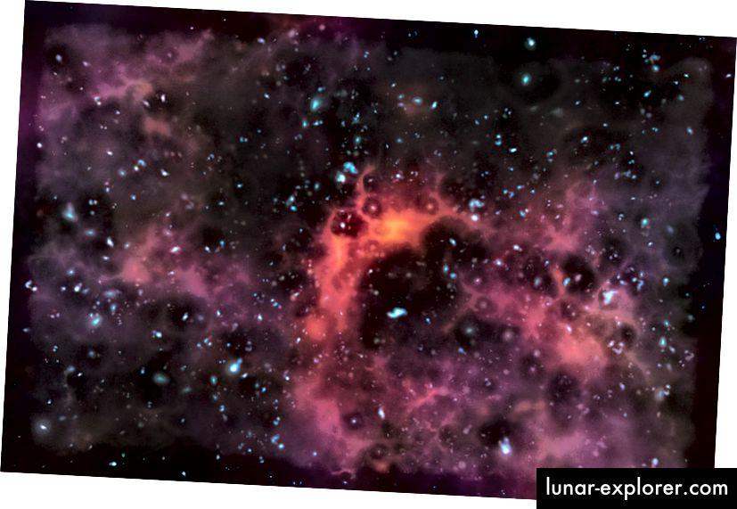 Eine Ansicht der entfernten Sterne und der Galaxien gesehen durch nahe gelegene Gaswolken. Bildnachweis: ESO / M. Kornmesser.