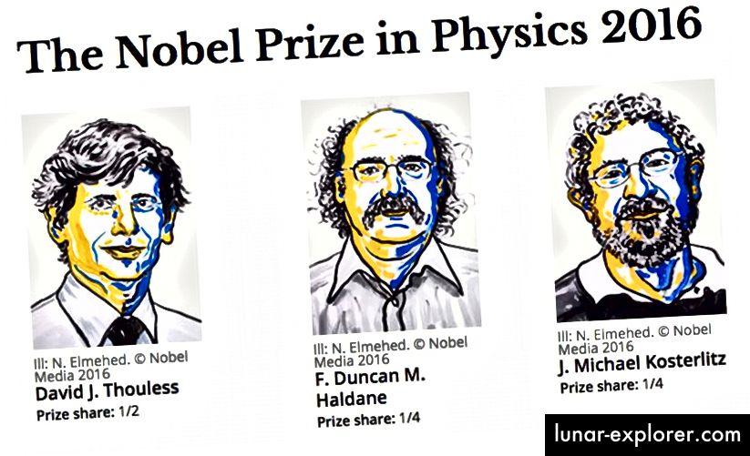 """Der Nobelpreis für Physik 2016 wurde an David J. Thouless, F. Duncan M. Haldane und J. Michael Kosterlitz für """"theoretische Entdeckungen topologischer Phasenübergänge und topologischer Phasen der Materie"""" verliehen. Bildnachweis: N. Elmehed. © Nobel Media 2016."""