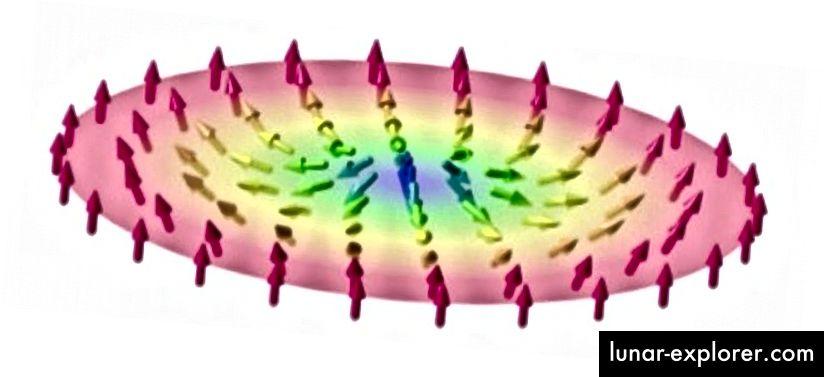 Eine Feldkonfiguration von Spins, die einen topologischen Defekt veranschaulicht. Beachten Sie, dass keine kontinuierliche Änderung der Drehrichtungen dies in eine Konfiguration umwandeln kann, bei der alle Drehungen nach oben zeigen. Bildnachweis: Karin Everschor-Sitte und Matthias Sitte.