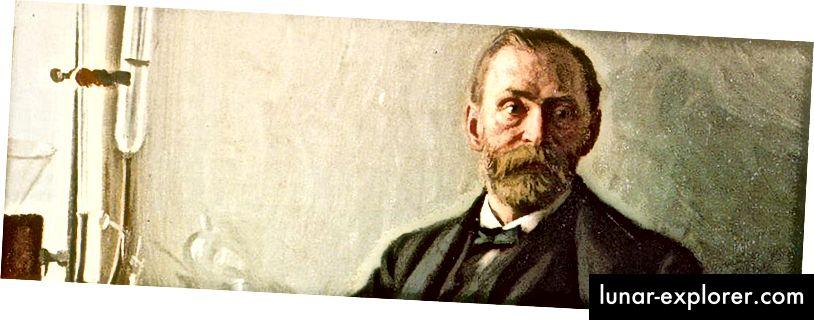 Alfred Nobel, der Erfinder des Dynamits und Inhaber von 355 Patenten, gründete 1895 seine Absicht, die Nobelpreisstiftung und die Regeln zu entwickeln, unter denen sie geregelt werden sollte. Nach seinem Tod im Jahr 1896 wird der Preis seit 1901 jährlich verliehen, mit den einzigen Ausnahmen, die bei der Besetzung Norwegens im Zweiten Weltkrieg auftraten. Bildnachweis: © Nobel Media AB 2016.