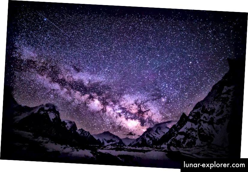 Dies ist die Milchstraße vom Concordia-Lager in Pakistans Karakorum. Rechts ist der Mitre Peak und ganz links der Beginn des Broad Peak. Foto von Anne Dirkse von http://www.annedirkse.com unter einer Lizenz von c.c.-by-s.a.-4.0.