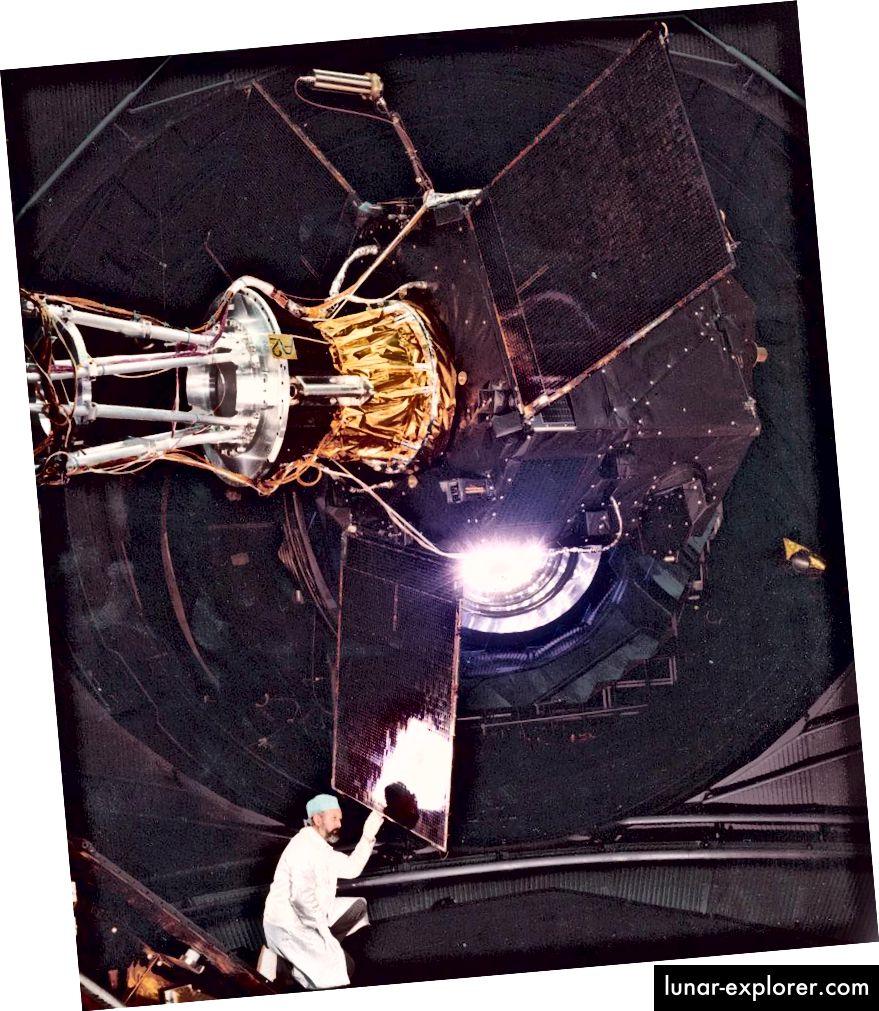 Test des Hipparcos-Satelliten im Large Solar Simulator, ESTEC, Februar 1988. Bildnachweis: Michael Perryman.
