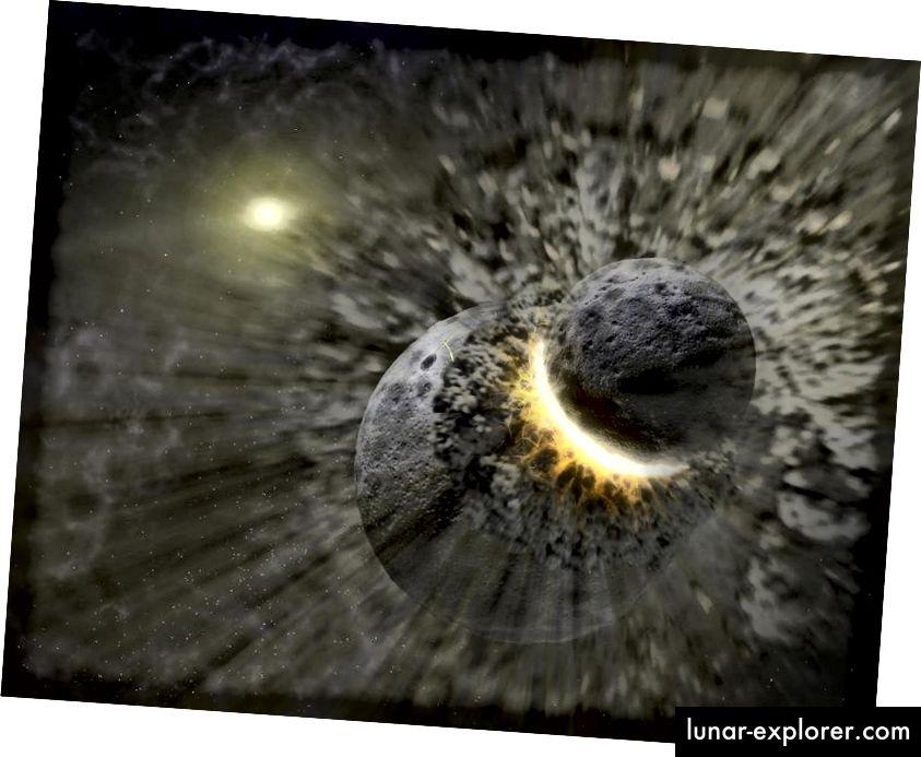 Aus einer massiven Kollision großer Planetesimalen entstand das Erde-Mond-System, was wir erst durch das Aufsteigen zum Mond und die Rückgabe von Proben der Mondoberfläche auf die Erde lernten. Bildnachweis: NASA / JPL-Caltech / T. Pyle (SSC).
