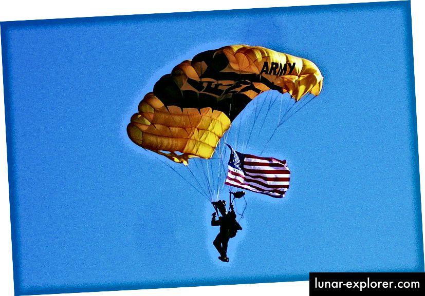 Ein Mitglied der Goldenen Ritter der US-Armee demonstriert Luftwiderstand. Bildnachweis: flickr-Benutzer Gerry Dincher unter einer CC-by-2.0-Lizenz.