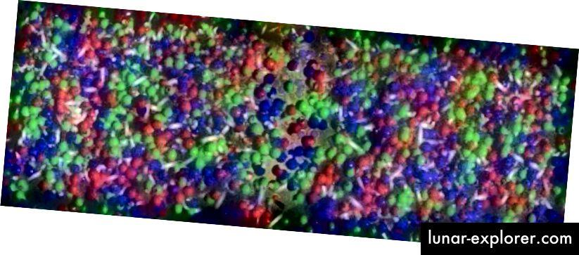 Das frühe Universum war voller Materie und Strahlung und so heiß und dicht, dass sich die vorhandenen Quarks und Gluonen nicht zu einzelnen Protonen und Neutronen formierten, sondern in einem Quark-Gluon-Plasma blieben. Bildnachweis: RHIC Collaboration, Brookhaven, über http://www.bnl.gov/newsroom/news.php?a=11403.