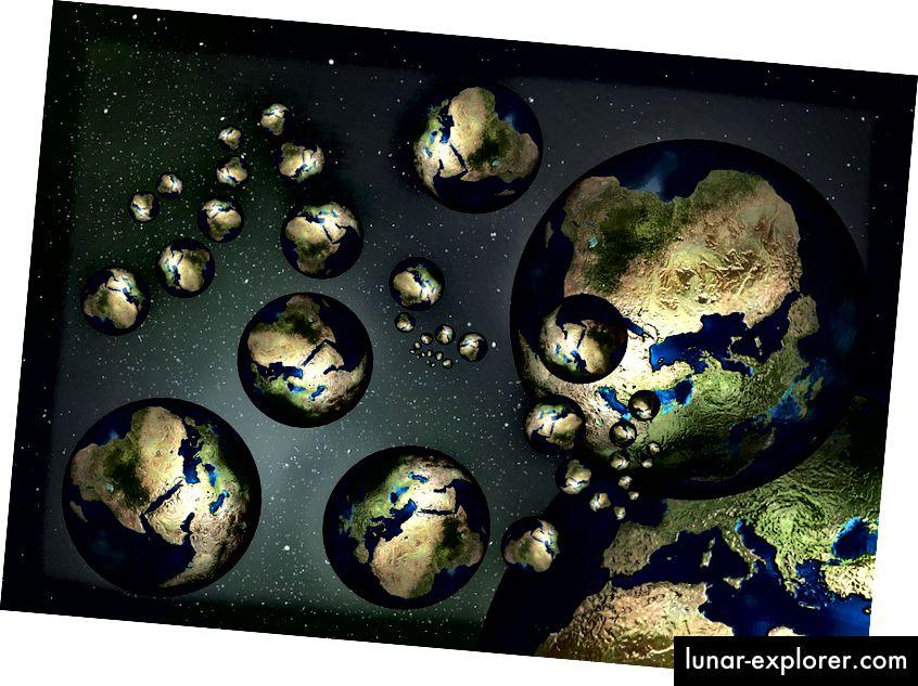 """Eine Darstellung der verschiedenen parallelen """"Welten"""", die in anderen Taschen des Multiversums existieren könnten. Bildnachweis: gemeinfrei, abgerufen von https://pixabay.com/de/globe-earth-country-continents-73397/."""
