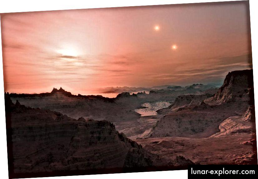 Der künstlerische Eindruck des Sonnenuntergangs in einer fremden Welt. Bildnachweis: ESO / L. Calçada.