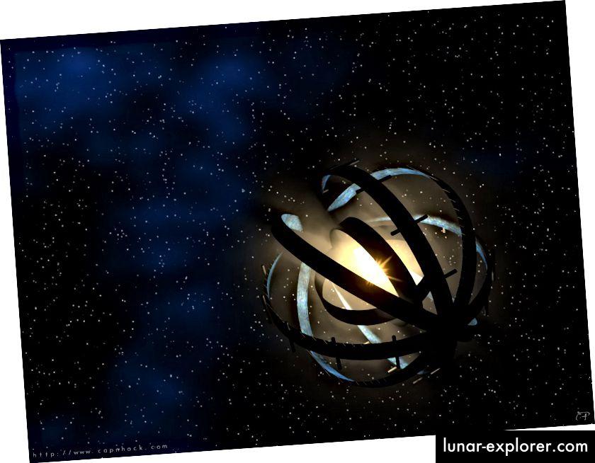 Eine im Bau befindliche Dyson-Kugel, die große Flusseinbrüche verursacht und den Stern im Laufe der Zeit zunehmend abdunkelt. Bildnachweis: Public Domain Art von CapnHack über http://energyphysics.wikispaces.com/Proto-Dyson+Sphere.